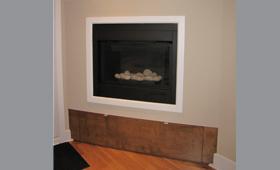 Création espace de rangement encastré sous foyer