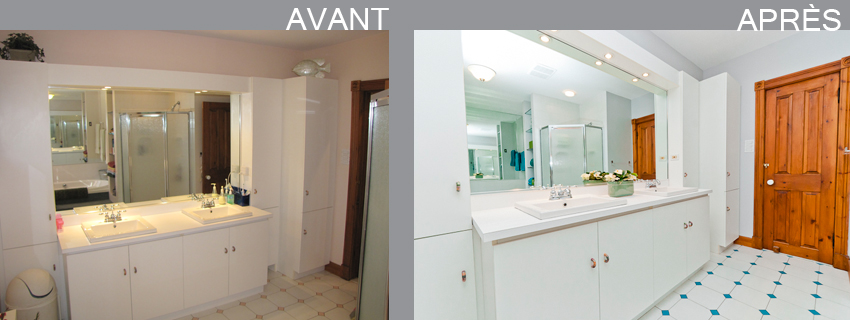 Home staging par pam la venne home staging rivi re des - Salle de bain avant apres ...